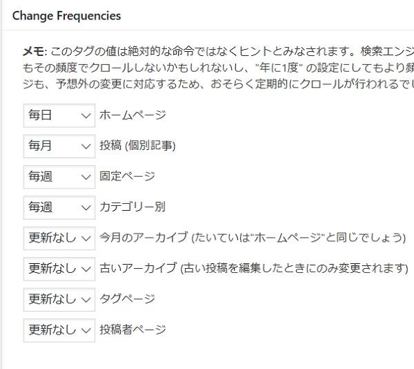 サイトマップの変更頻度を設定する